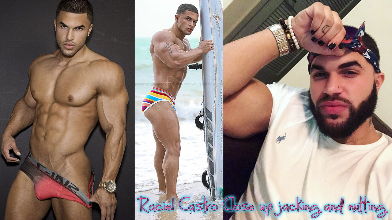Muscle boy Raciel Castro up close jacking and nutting